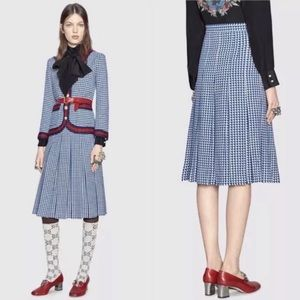 Gucci Houndstooth Pleated Midi Wool Skirt